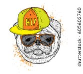 funny pug in a cap and glasses. ... | Shutterstock .eps vector #605602760