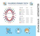 children's primary teeth ... | Shutterstock .eps vector #605604758