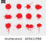 vector paint splatters.red... | Shutterstock .eps vector #605611988