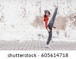 fitness sport girl in fashion...   Shutterstock . vector #605614718