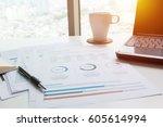 modern white office desk white... | Shutterstock . vector #605614994