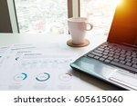 modern white office desk white... | Shutterstock . vector #605615060