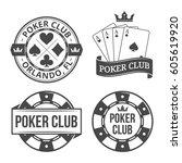 vintage poker emblems | Shutterstock .eps vector #605619920