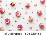 Pink Cupcake Background On White