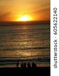 people sunset | Shutterstock . vector #605622140