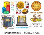 set of social icons in hand...   Shutterstock .eps vector #605627738