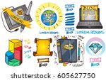 set of social icons in hand...   Shutterstock .eps vector #605627750