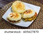 venezuelan typical food  arepa | Shutterstock . vector #605627870