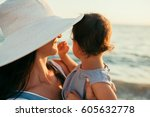 close up portrait back view of... | Shutterstock . vector #605632778