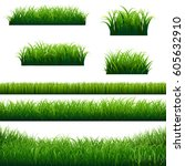 green grass borders big... | Shutterstock . vector #605632910