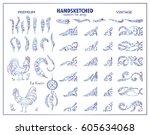 set of vector vintage wave... | Shutterstock .eps vector #605634068