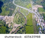 top view of the rural road and... | Shutterstock . vector #605635988