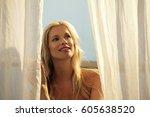 head shot of blond woman... | Shutterstock . vector #605638520