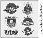 retro music studio emblems ... | Shutterstock .eps vector #605638760