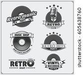 retro music studio emblems ... | Shutterstock .eps vector #605638760