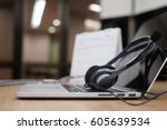 close up blurred of headset of...   Shutterstock . vector #605639534