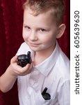 boy with a walkie talkie  a... | Shutterstock . vector #605639630