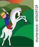 boy on horseback  a little boy... | Shutterstock .eps vector #605639729