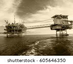 oil and gas platform in the... | Shutterstock . vector #605646350