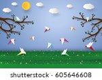 flock of birds flying   paper... | Shutterstock .eps vector #605646608