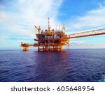 gas and oil rig platform | Shutterstock . vector #605648954