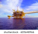gas and oil rig platform | Shutterstock . vector #605648966