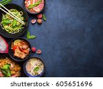 thai food background. dishes of ... | Shutterstock . vector #605651696