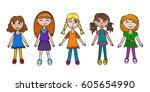 little cartoon girls kids set.... | Shutterstock .eps vector #605654990