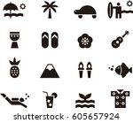 hawaii black icons | Shutterstock .eps vector #605657924