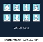 avatar profile picture icon set ... | Shutterstock .eps vector #605662784