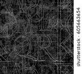font grunge seamless pattern ... | Shutterstock .eps vector #605663654