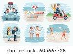 vector cartoon illustration of...   Shutterstock .eps vector #605667728