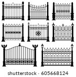 decorative wrought fences and... | Shutterstock .eps vector #605668124