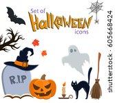 set of halloween icons.... | Shutterstock . vector #605668424