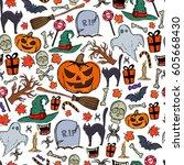 seamless pattern of halloween... | Shutterstock . vector #605668430