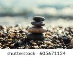 Stack Of Zen Stones On Beach...