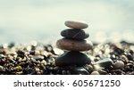 Stack Of Zen Stones On Beach...