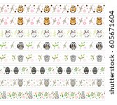 vector set of endless  seamless ... | Shutterstock .eps vector #605671604