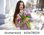 beautiful smiling woman with... | Shutterstock . vector #605678024