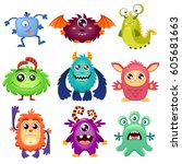 cute cartoon monsters | Shutterstock .eps vector #605681663