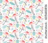 Cute Patter With Flamingos And...