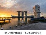 sunset of singapore skyline.... | Shutterstock . vector #605684984