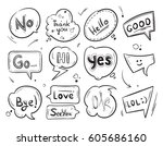 hand drawn comic speech bubbles ... | Shutterstock .eps vector #605686160