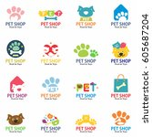 pets shop logo  labels and... | Shutterstock .eps vector #605687204