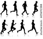 set of silhouettes runners on... | Shutterstock .eps vector #605692388