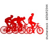 silhouettes of racers on a... | Shutterstock .eps vector #605692544