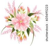 floral bouquet for wedding... | Shutterstock .eps vector #605695223