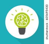 think green symbol  brain in... | Shutterstock .eps vector #605695430
