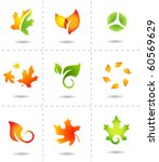nature icons autumn leafs - stock vector