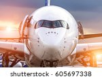 airplane view from the front... | Shutterstock . vector #605697338